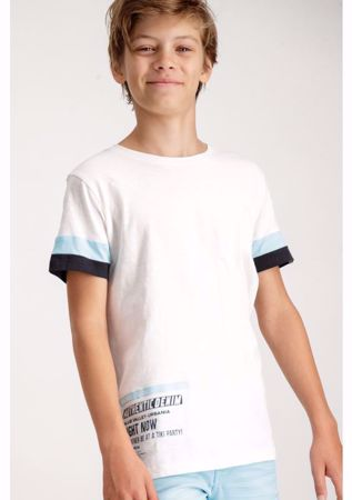 GARCIA KIDS-WHITE T-SHIRT WITH LIGHT BLUE DETAILS-WHITE