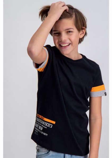 GARCIA KIDS-BLACK T-SHIRT WITH ORANGE DETAILS-BLACK