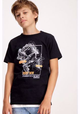GARCIA KIDS-BLACK T-SHIRT WITH LEAF PRINT-BLACK
