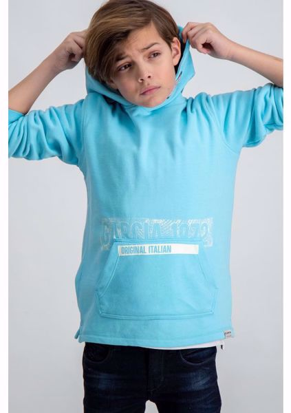 GARCIA KIDS-LIGHT BLUE HOODIE WITH TEXT PRINT-BLUE