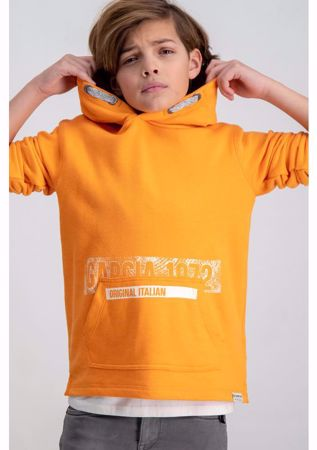 GARCIA KIDS-ORANGE HOODIE WITH TEXT PRINT-ORANGE