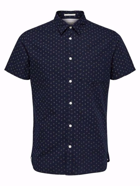 SELECTED HOMME-SLIM FIT - SHORT SLEEVED SHIRT-DARK-SAPPHIRE