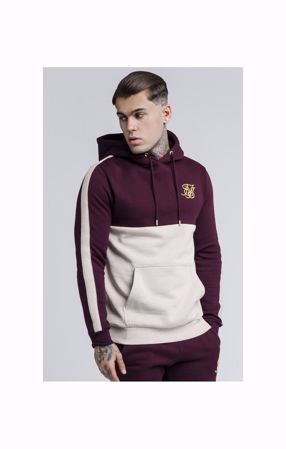 "SIK SILK-CUT AND SEW TAPED OVERHEAD HOODIE €"" BURGUNDY & CREAM"