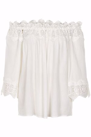 CREAM-BEA LACE BLOUSE-CHALK