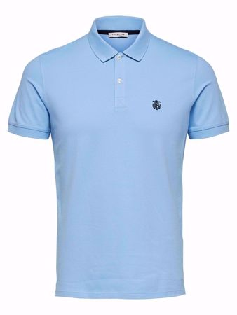 SELECTED HOMME-BASIC - POLOSKJORTE-PLACID-BLUE