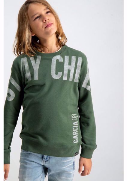 GARCIA KIDS- SWEATER WITH TEXT PRINT-GREEN