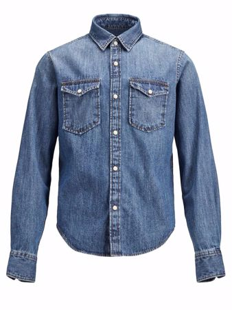 JACK&JONES JUNIOR -DENIMSKJORTE-DARK-BLUE-DENIM