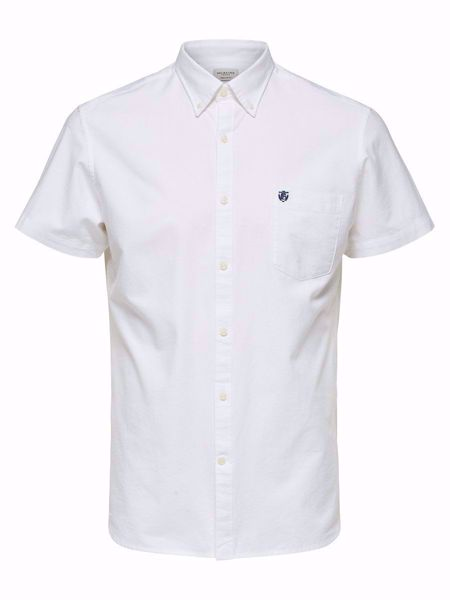 SELECTED HOMME-REGULAR FIT - KORTERMET SKJORTE-WHITE