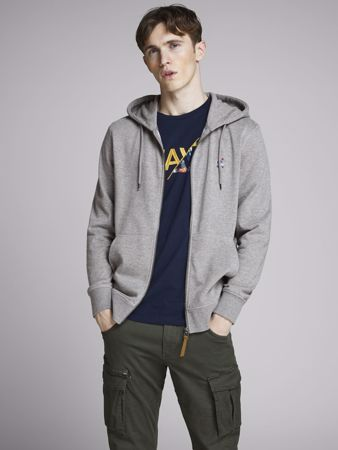 STORMY ZIP HOOD - Light Grey Melange