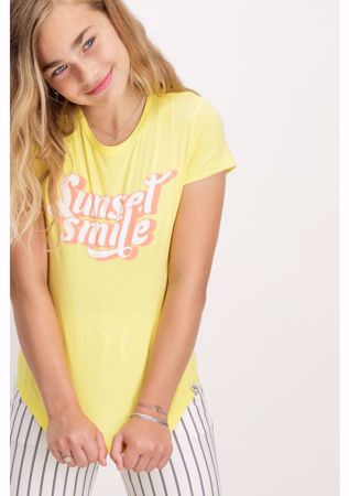 GARCIA KIDS-YELLOW T-SHIRT WITH COLORED TEXT PRINT-YELLOW