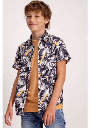 GARCIA KIDS-SHIRT WITH TROPICAL PRINT-BLACK