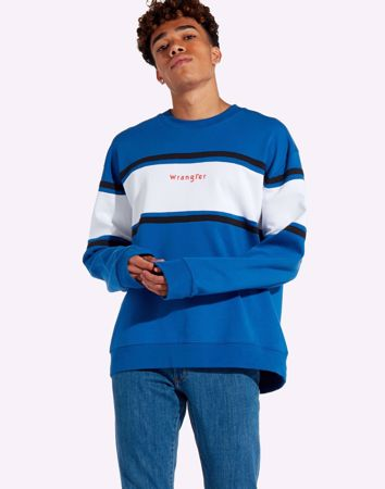 WRANGLER-COLORBLOCK CREW SWEATER-TURKISH-SEA