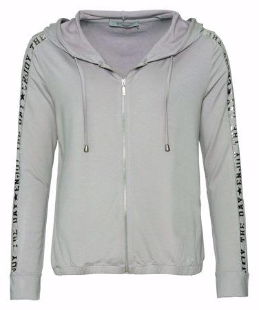 Monari-Jacke mit Kapuze und Lackschrift mit Kettendetails-greige