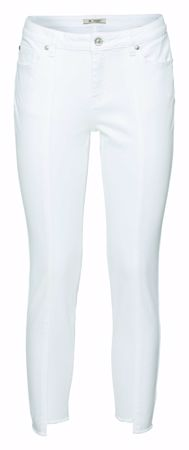 Monari-Jeanshose im Five-Pocket-Style mit Fransen und Teilungsnaht-white