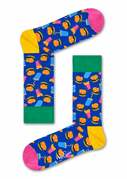 HAPPY SOCKS-HAMBURGER SOCK-BLÅ-GRØNN-ORANGE-ROSA