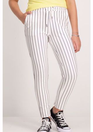 GARCIA KIDS-WHITE STRIPED PANTS-WHITE