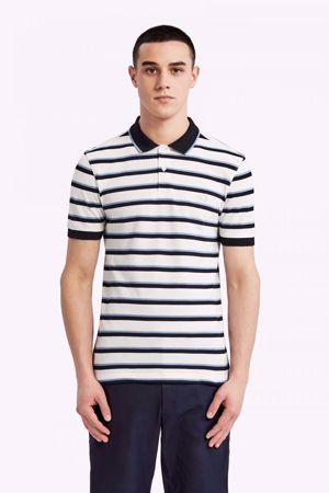 FRED PERRY-FINE STRIPE POLO SHIRT-SNOW-WHITE