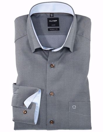 OLYMP-LUXOR, MODERN FIT, UNDER BUTTON-DOWN, BLEU