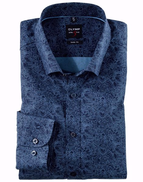 OLYMP-LEVEL FIVE, BODY FIT, UNDER BUTTON-DOWN, MARINE
