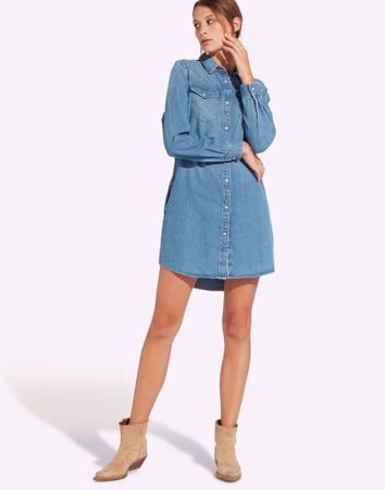 WRANGLER-SHIRT DRESS-MID-STONE