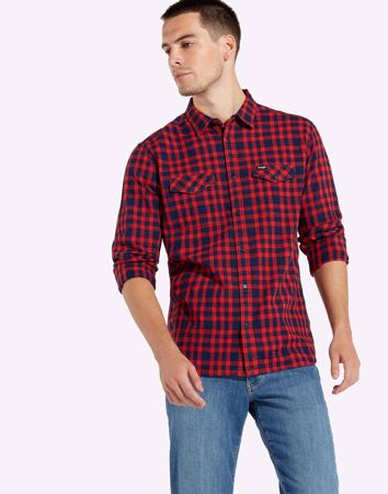 WRANGLER-TWO POCKET FLAP SHIRT-HIGH-RISK-RED