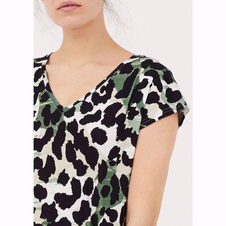 Isay-Karma V-Neck T-Shirt-Green Animal