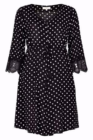 Cream-Bea Dot Dress-Pitch Black