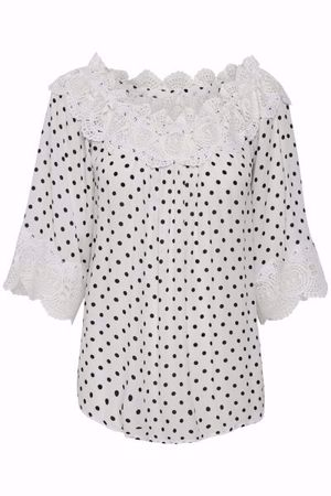 Cream-Bea Dot blouse-Chalk with black d