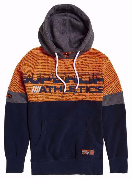 Superdry - Oransje og mørkeblå hettegenser / hoodie - Atlectics - Gardena Nav