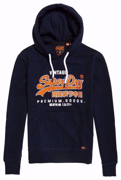 Superdry - Blå hettegenser/hoodie - Academy Nav - premium goods