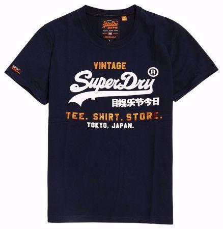 Superdry - Blå T-skjorte - Vintage - Academy Nav Green Grit