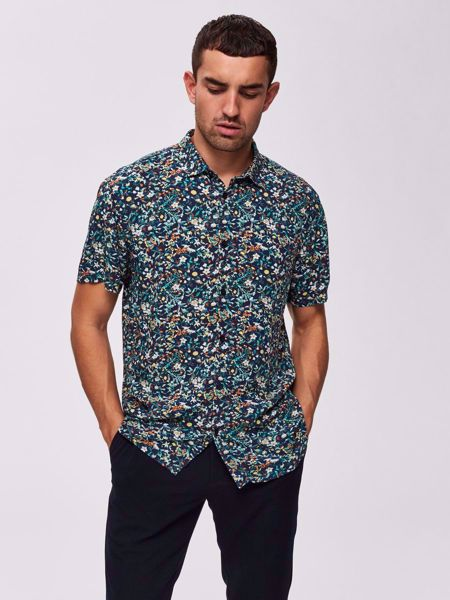 SELECTED HOMME-BLOMSTERPRINT REGULAR FIT - KORTERMET SKJORTE-DARK-SAPPHIRE