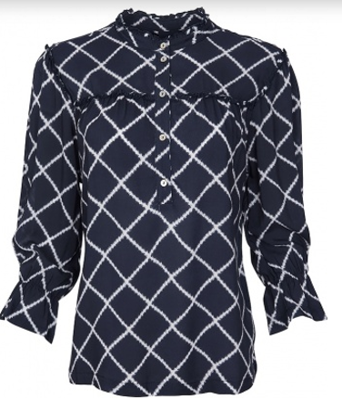 One Two & Luxzuz-Kresta Blouse-Dark Navy
