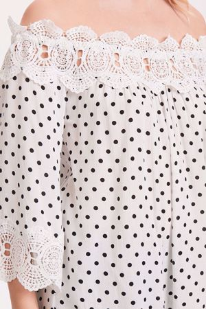 CREAM-BEA DOT BLOUSE-PITCH-BLACK