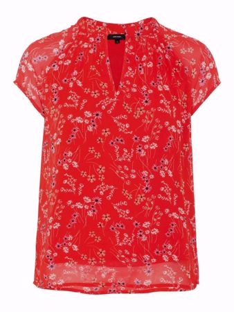 VERO MODA-FLORAL SHORT SLEEVED TOP-FIERY-RED