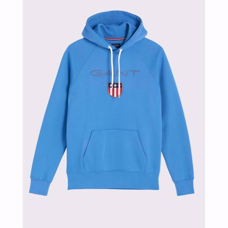 GANT-PREPPY ESSENTIALS ORIGINAL SHIELD SWEAT HOODIE-PALACE-BLUE