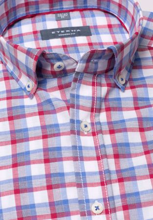 ETERNA-HALF SLEEVE SHIRT MODERN FIT LINEN RED / BLUE / WHITE CHECKED