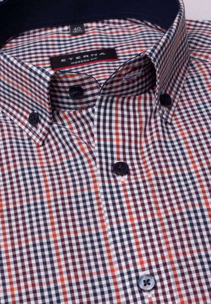 ETERNA-LONG SLEEVE SHIRT MODERN FIT POPLIN WINE RED / ORANGE / WHITE CHECKED