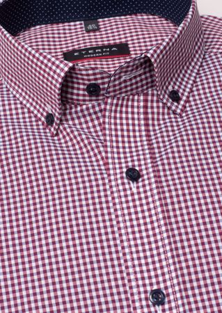 ETERNA-LONG SLEEVE SHIRT MODERN FIT POPLIN RED/WHITE CHECKED