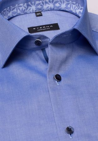 ETERNA-HALF SLEEVE SHIRT COMFORT FIT NATTÉ LIGHT BLUE STRUCTURED