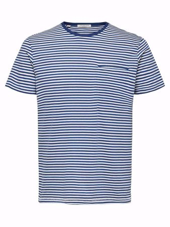 SELECTED HOMME-STRIPED REGULAR FIT - T-SHIRT-NAVY-PEONY