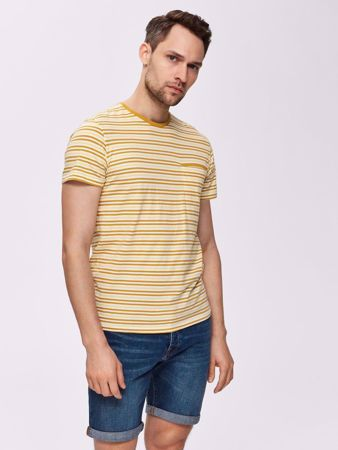 SELECTED HOMME-STRIPED REGULAR FIT - T-SHIRT-HONEY