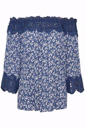 Cream-Bea print blouse-Depths Marine / M
