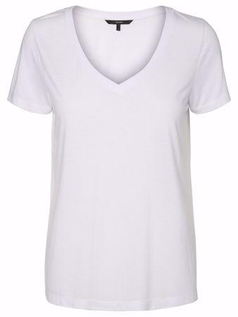 Vero Moda-VMSPICY V-NECK SS TOP NOO-Bright White