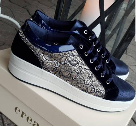 Sneakers - Cream - Blå