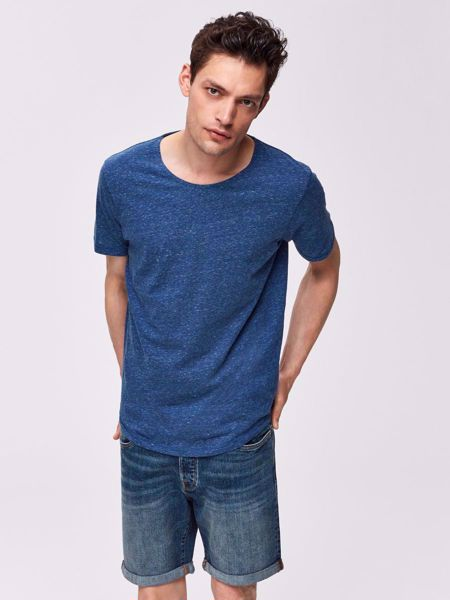 SELECTED HOMME-ORGANIC COTTON - T-SHIRT-NAVY-PEONY