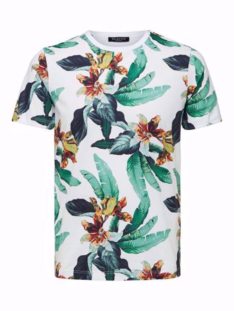 SELECTED HOMME-BLOMSTRETE - T-SKJORTE-BRIGHT-WHITE