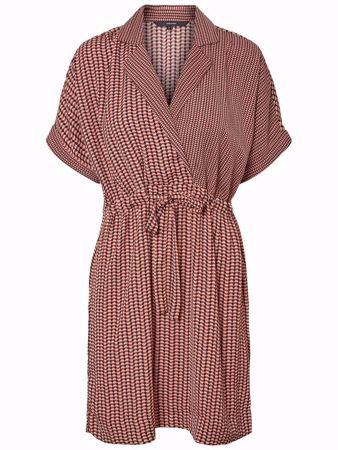 VERO MODA-SHORT WRAP DRESS-MAHOGANY