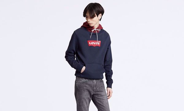 LEVI'S-MODERN HOUSEMARK HOODIE-CONTRAST-HOOD-NIGHTWATCH-BLUE-WARM-CAB-MULTI-COLOUR