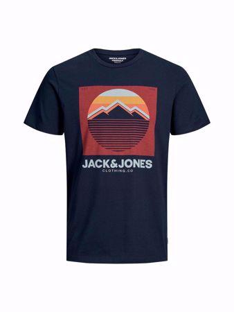 JACK&JONES-MOUNTAIN LOGO PRINT T-SHIRT-NAVY-BLAZER